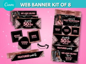 DIY Rose Gold Web Banner Kit Of 8, Website Banner Template, Canva