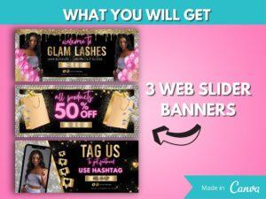 DIY Pink Silver Web Banner Kit Of 8...
