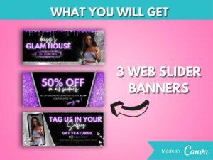 DIY Purple Web Banner Kit Of 8, Website Banner Template, Canva