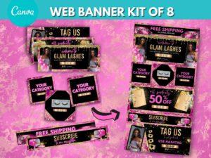 DIY Hot Pink Web Banner Kit Of 8, C...
