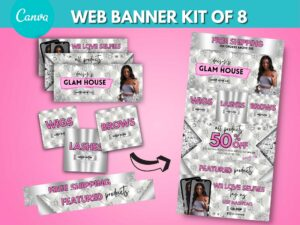 DIY White Silver Web Banner Kit Of 8, Canva Website Banners