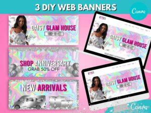 3 Pink Holographic Web Slider ...