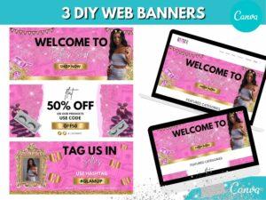 3 Hot Pink Gold Web Slider Banner K...