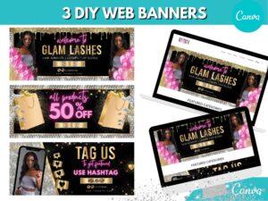 3 Pink Silver Web Slider Banner Kit...