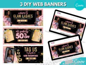 3 DIY Baby Pink Gold Web Slider Ban...