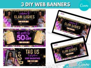 3 DIY Purple Gold Web Slider B...