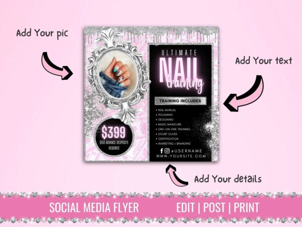 nails training classes flyer