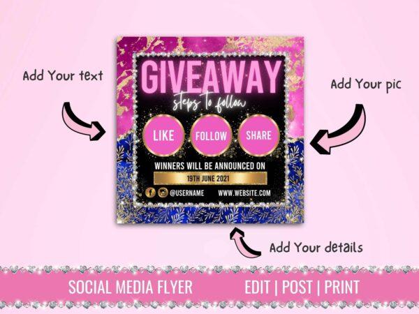 pink giveaway instagram flyer