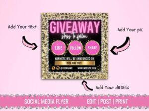 Leopard Style Pink Instagram Flyer,...