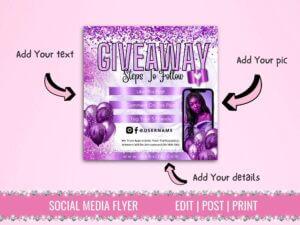 Purple White Giveaway Flyer Te...