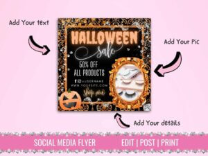 Halloween Sale Instagram Flyer, Fal...